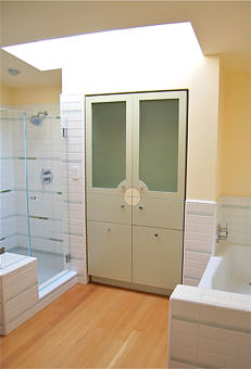 Linen storage in a San Francisco bathroom suite